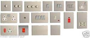 Flat Plate Switches & Sockets Brushed Stainless Steel  Uk