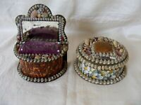 Two Antique Sailors' Shell Work Boxes c1890