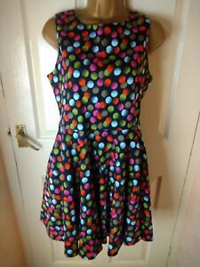 Izabel London Size 12 Black Spotted Fit and Flare Dress