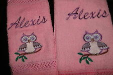personalised hand towel and face washer gift set CUTE OWL add a name for FREE