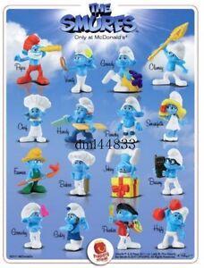 2011 McDonalds Smurfs MIP Complete Set - Lot of 16, Boys & Girls, 3+