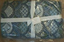 Pottery Barn Marcy Scallope Print Blue Quilt Full Queen #1500