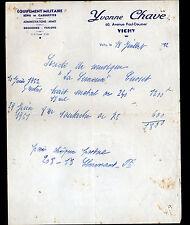 """VICHY (03) EQUIPEMENT MILITAIRE / KEPI CASQUETTE FANION """"Yvonne CHAVE"""" en 1952"""