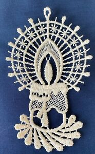 Christmas Decoration/Ornament - cream lace Candle