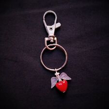 Handmade Guardian Angel Lobster Clasp Keyring made with a red heart bead