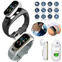 Bluetooth Earphone Sports Fitness Tracker Smart Watch For IOS Android Wristband