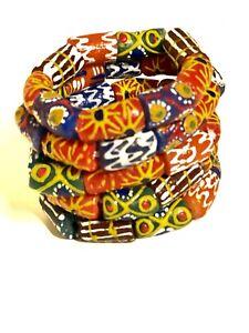 African Trade Bead Stretch Bracelet recycled glass tribal Krobo ethnic.