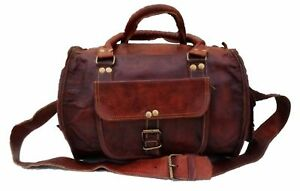 Genuine Brown Soft Leather Men's HandBags travel tote duffle gym shoulder bags