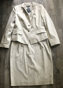 ann taylor tan khaki Blazer Cotton Stretch skirt suit size 12 nwt $240