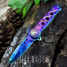 SPRING-ASSIST FOLDING POCKET KNIFE | Rainbow Stiletto Dagger Blade Tactical EDC