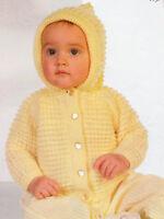 "Baby Hooded Jacket 20"" - 22""  DK Knitting Pattern"