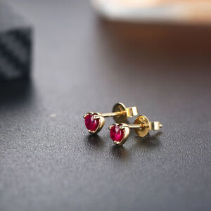 Luxurious Vintage Earrings Solid 14K Yellow Gold 3.5mm Round 2/5ct Ruby Gemstone