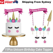 11Pcs Unicorn Happy Birthday Party Cake Topper Set eyes ear Kids Girls Decoratio