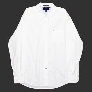 TOMMY HILFIGER White Cotton Plain Long Sleeve Shirt Mens XL