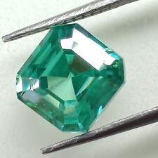 Green Asscher Cut Loose Moissanite For Ring/Pendant 1.93 Ct 6.98 x 6.96 Mm Vvs1