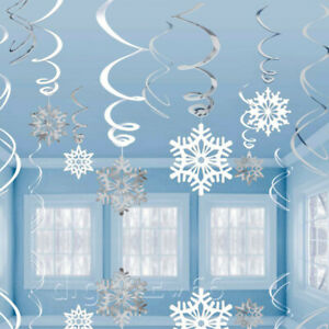 30 Frozen Snowflake Swirls Hanging Party Decorations Christmas Winter Wonderland