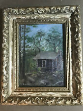 """Antique L Tompson """"Rural Cabin Scene"""" Oil Painting - Signed And Framed"""