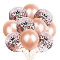 10PCS 12inch Foil Latex Rose Gold Confetti Ballons Happy Birthday Party Decor 81