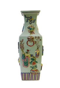 Chinese Light Green Dimensional Color Graphic Square Porcelain Vase cs1430