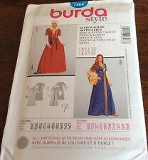 Burda Pattern 7468 Misses Historical Middle Ages Dress, Bonnet Costume  Sz 10-28
