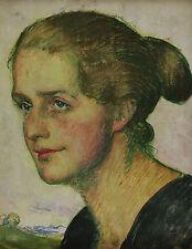 Doppelseitig bemalt zwei Damenportraits Art des Ferdinand Hodler