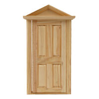 1/12 Dolls House Miniature Natural Wooden Steepletop Door for Room Decor  Gift