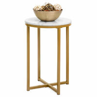 BCP 16in Round Side Table w/ Faux Marble Top