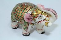 India Natural white Marble Stone Elephant Figure Gold Hand Painted Gift Item...