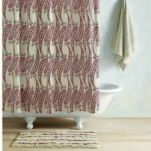 John Robshaw Naji Paisley Fabric shower curtain New $125