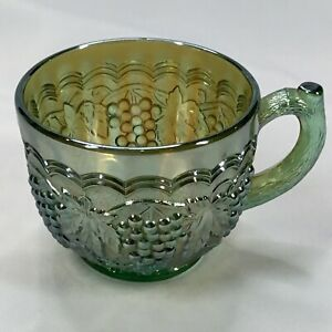 ANTIQUE  GREEN CARNIVAL GLASS TEA / COFFEE CUP GRAPE & LEAVES PATTERN