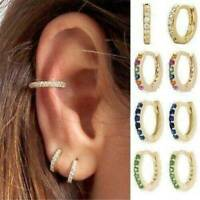 Vintage Women 18K Gold Plated Crystal Stud Hoop Loop Earrings Jewelry Gift