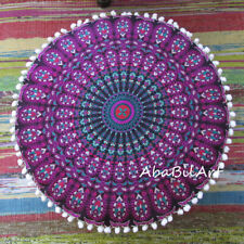 "18"" Round Pink Multi Pouf Ottoman Foot Stool Floor Decorative Cotton Pouf Covers"