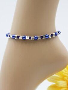 XS Fußkette Fußkettchen Silber Sommer Perlen Blau Hippie Boho Zart #J030
