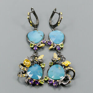One of a kind Turquoise Earrings Silver 925 Sterling   /E57158