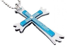 Men's Stainless Steel Blue Crystal Prayer Cross Necklace N87