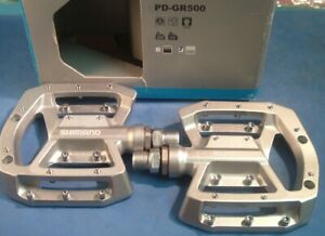 Shimano PD-GR500 MTB/DH/BMX Platform Pedals - NEW / NOS w/Pins- Silver- NIB++