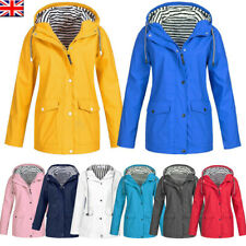 Womens Hooded Raincoat Ladies Outdoor Wind Rain Forest Jacket Coat Plus Size