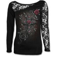 Spiral Angel Beads Long Sleeved Lace Shoulder Top Gothic Rosary Crucifix XXL