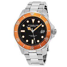 Stuhrling Original Men's 824.04 Aquadiver Date Orange Bezel Stainless Steel Dive