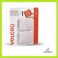VELCRO® Brand 25 x 50mm White Stick On Hook And Loop Tape - 6 Pack