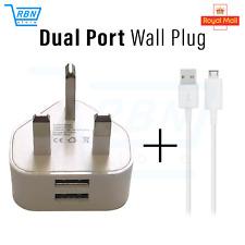 UK Mains - 3 Pin Plug Adapter Ladegerät mit 2 USB Ports + gratis Micro USB Kabel