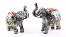 Set of 2 Feng Shui Dark Elephants Trunk Statue Lucky Figurine Gift Home Decor
