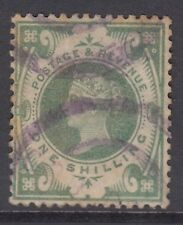 GB QV 1s. Dull Green SG211 Good Used 1/- Jubilee Stamp - Violet Postmark