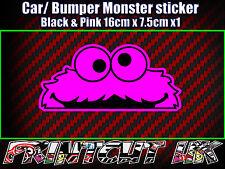 Peeping Peeking Monster Sticker, Car Bike Laptop Door scooter Funny Cute PINK
