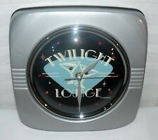 Twilight Lounge Metal Wall Clock Battery Operated Time