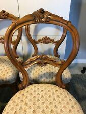 Antique 6 Mid-19th Century walnut chairs Victorian Rocco Revival carved brocade