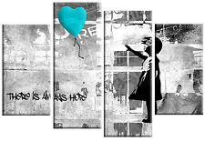"""BANKSY TURQUOISE GREY CANVAS GIRL WITH BALLOON WALL ART 4 PANEL PICTURE 40""""x 27"""""""