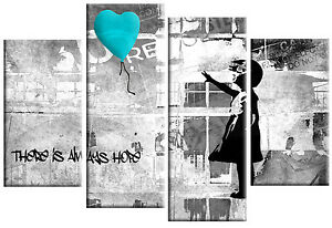 "BANKSY TURQUOISE GREY CANVAS GIRL WITH BALLOON WALL ART 4 PANEL PICTURE 40""x 27"""