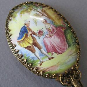"Antique French HP Porcelain + GILT Brass 4"" PURSE Mirror LOVERS Garden * DOLL"