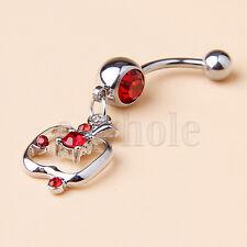 Bar Ring Piercing Apple Dangle Hm 2x Sweet Surgical Steel Rhinestone Belly Navel